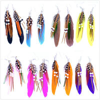 High quality feather dangle earrings with bead multiple colours,UK seller, fast