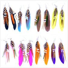 Alto qualità piuma pendente orecchini con perlina colori multipli,venditore UK,