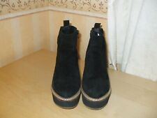 Ladies Topshop Fab Black Suede Wedge Ankle Boots Size UK 6 EU 39