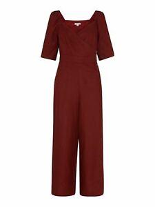 WHISTLES Ladies Eliza Linen Button Jumpsuit Short Sleeve Wine UK10 BNWT RRP169