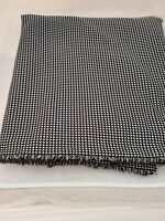 "Black White Check Med Weight Poly Double knit fabric 1960-70's 2 yds 32"" 60"" W"