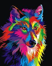 Colorful Home Decor ,Art Canvas Print, Oil Painting Wahyu Romdhoni Wolf  20x24