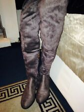 WOMENS GORGEOUS  OVER THE KNEE GREY SUEDE BOOTS SIZE 8