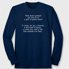 How Many Animals In Pair Panty Hoes Rude Party T-shirt Funny Sex Long Sleeve Tee