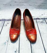 Original 1960s Vintage Tan & Red Heeled Court Shoes UK4 EUR37 Vintage Shoes