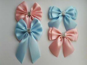 4 Set Large Satin Ribbon Bows Tail Bows Baby Pink Blue Silver Glitter UK