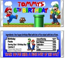 Super Mario Luigi Birthday Party Candy Wrappers Favors Personalized Custom