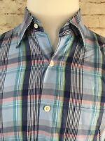 Peter Millar Mens Medium Blue/Pink/Green Plaid 100% Cotton Casual BUTTON UP
