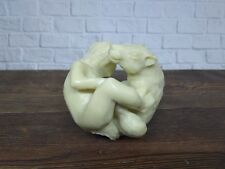 Erotic Statue Wolf and Girl from Billiard Ball Carving