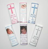 50 Personalised Christening Day Chocolate Bar Wrappers  Favours, Gifts