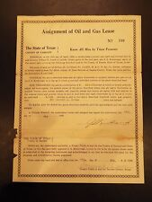 Assignment of Oil and Gas Lease County of Tarrant, TX 1928