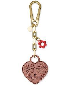 Michael Kors Metal Heart Lock Bag Charm Rose Pink BNIB