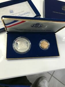 1987 W $5 Gold & $1 Silver 2 Coin Proof Set Constitution BOX & COA !!!
