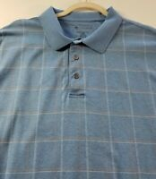 Jos A Bank Men's Short Sleeve Leadbetter Golf Polo Shirt 2XLT Tall Blue Plaid