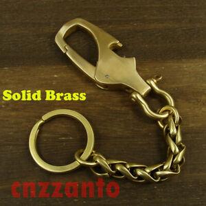 Solid Brass key chain ring bottle opener snap hook clips holder carabiner H793