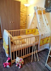 Babyzimmer Komplett Set Babybett Umbaubar 5 Farben Schrank Matratze Braun-Cafe