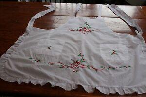 Vintage Cotton Christmas Apron w Embroidery & Ruffle