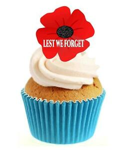 Remembrance Day Poppy Lest We Forget 12 Edible Stand Up wafer paper cake toppers