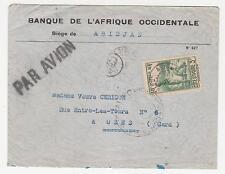 IVORY COAST, 1940 Censored Airmail cover, Abidjan to France, 3f.50