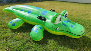 Inflatable 1993 Intex Lil Green Alligator Ride on Pool Toy Repaired from Popping