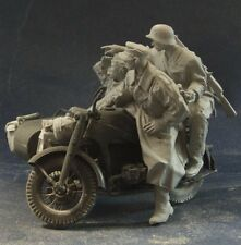Modelos de AC Segunda Guerra Mundial alemán ZUNDAPP Riders Figuras 3 + Kit de estiba 75mm Sin Pintar Resina