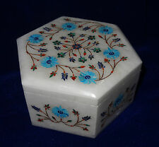 Hexagon White Jewelry Box Turquoise Floral Art Handicraft Home Decor Gift Arts