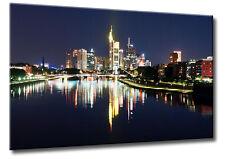 Leinwand Bild Frankfurt Skyline Wasser Spieglung Farben Städte City Bilder Main