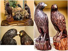 2 Vintage Showpiece Rare Wood Carved Set Sea Eagles Brass Talon Beak M/Female