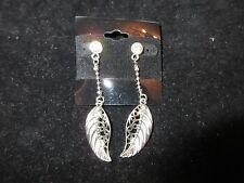 Chain Leaf Rhinestone Crystal Chic Statement Long Dangle Earrings Silver Tone