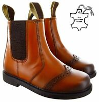KIDS BOYS GIRLS CHILDREN PULL ON DEALER BROGUE TAN GUSSET ANKLE LEATHER BOOTS SZ