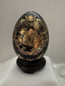 Satsuma black and gold egg with stand