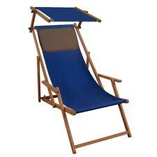 Chaise Longue Bleu Hêtre Transat pour Jardin de Plage Toit Ouvrant Coussin