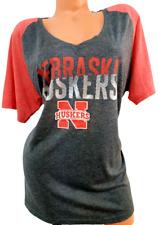 Russell gray red Nebraska huskers short sleeves v neck jersey tee top 3XL