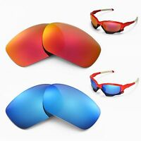 New WL Polarized Fire Red + Ice Blue Replacement Lenses For Oakley Racing Jacket