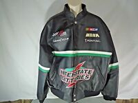 NASCAR #18 Bobby LaBonte (XL) 100% LEATHER Reverse 2 Jackets in One Black,Green