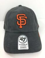 SF San Fran Giants Gray Clean Up Dad Hat Womens MLB 47 Brand Adjustable Cap New