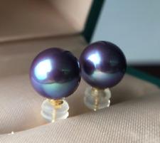 elgant 10-11mm south sea round lavender pearl earring18K