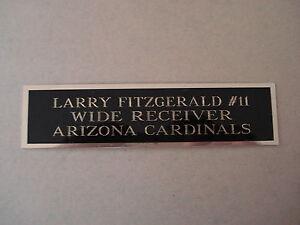 Larry Fitzgerald Cardinals Autograph Nameplate For A Football Mini Helmet 1.5X6