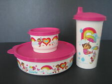 Tupperware Dora Rainbows Lunch Set Bowl Snack Cup Tumbler Sippy Lid Pink New