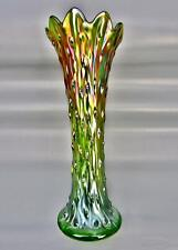"7961 Northwood TREE TRUNK Scrumptious Green Carnival Glass 10¾"" Standard Vase"