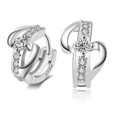 Cross Ear Stud Clip Earrings Jewelry Elegant Women 925 Silver Plated Crystal
