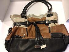 B Makowsky Multi Colored Leather Silver Tone Hardware Handbag Shoulder Bag