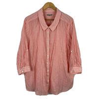Yarra Trail Womens Blouse Top Plus Size 24 Peach Pink Striped 3/4 Sleeve