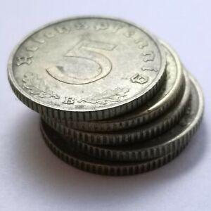 German 5 Reichspfennig BRASS Coins Lot of 5 coins WW2