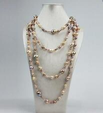 """long 60""""6-15mm natural south sea pink white purple baroque pearl necklace"""