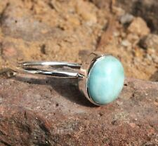 Natural Larimar 925 Sterling Silver Band Ring Jewelry Handmade All Size K-01