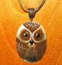 Pendant BROWN OWL BIRD Genuine Russian hand painted oval SHELL