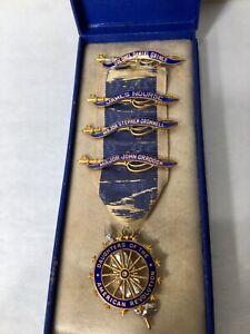 14K Gold DAR Daughters of the American Revolution Pin Badge 4 Bars Ribbon in Box