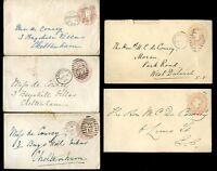 GB QV STATIONERY 1865-98...5 ENVELOPES to de COURCY