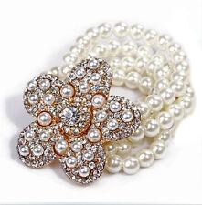 VINTAGE Cream Bianco Perle Fiori Elastico personalità Bracciale Bangle bb101